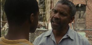 Fences (2016) Jovan Adepo as Cory Maxson and Denzel Washington as Troy Maxson